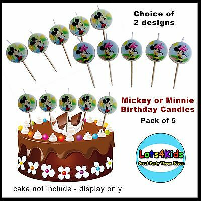 Mickey Mouse Or Minnie Mouse Party Small Candles Party Supplies - Pack Of 5