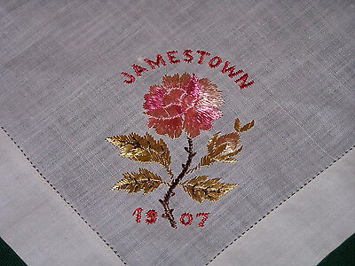 "Unusual Vintage 1907 Floral Silk Embroidered Handkerchief, ""jamestown"", Ex. Cond"