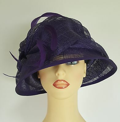 Ladies Formal Occasion Hat Wedding Races Dark Vibrant Purple By Medici