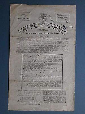 1917 Wwi Era Ministry Of Food Leaflet Vegetables: How To Cook Them - Scarce Item