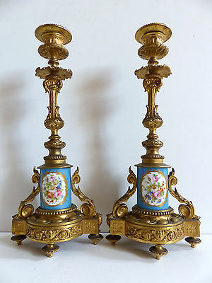 SUPERB PAIR of ANTIQUE FRENCH BRONZE SEVRES STYLE PORCELAIN CANDLESTICKS c1870's