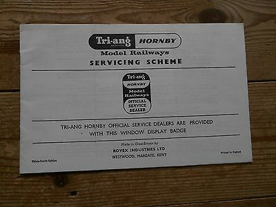 Tri-ang Hornby Model Railways Servicing Scheme 34th edition - 16 page Booklet