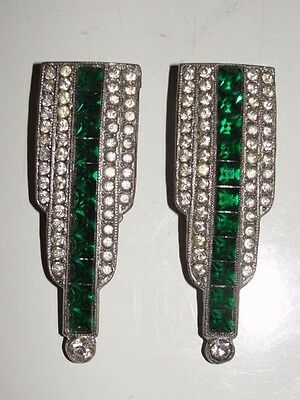 Vintage/victorian Green/clear Rhinestone Dress/fur Clips~Set Of 2~Gorgeous~