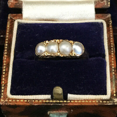 Antique, FIne Victorian 18ct, 18k, 750 Yellow Gold Natural Pearl Ring Circa 1890