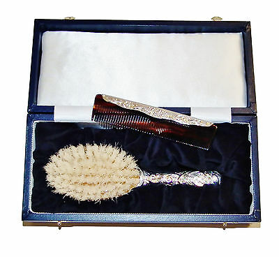Fully Hallmarked Sterling Silver Ornamental Baby Brush & Comb Set - Was £350