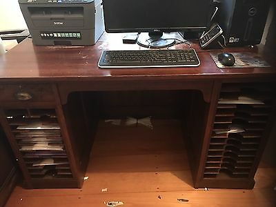 Antique Solid Oak Wood Desk With Letter Trays And Hidden Doors