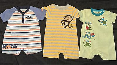 LOT Of 3 Carter's Baby Boy's Short Sleeve Rompers 6-12 Months