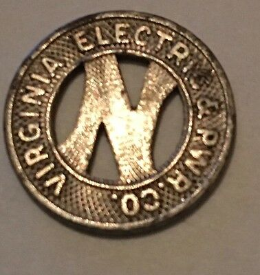 1940's Virginia Electric & Power Co. Transit Token Norfolk Div One Fare
