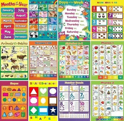 12 X Childrens Kids Educational Learning Charts Posters A4 Nursery School Home