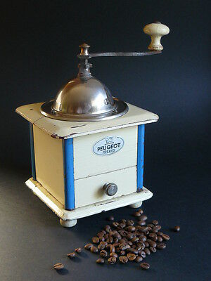 Vintage PEUGEOT FRERES Cream & Blue Manual Wooden Box Coffee Grinder Mill