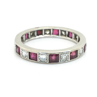 Art Deco 18ct, 18k, 750 Gold Ruby & Diamond full Eternity Ring, 1.65ct, C1920's