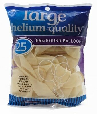 Meteor 25 Decorator Clear Helium Grade Round Party Balloons - 30cm
