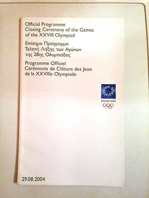 Official Closing ceremony program Athens 2004 (greek / english)