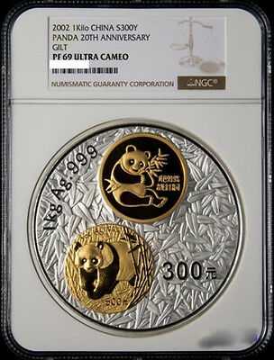 NGC PF69 2002 20th Anni of Chinese Panda Gold Coin 1kg Silver and 3g Gold Coin