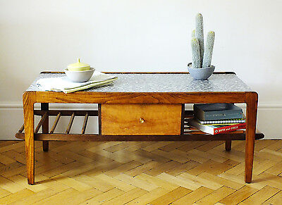 Retro mid century coffee table, walnut with formica top