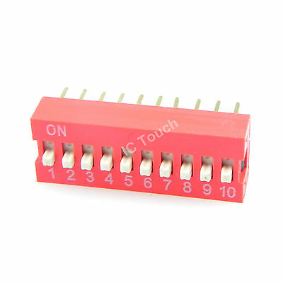 100pcs 2.54mm Pitch 10-Bit 10 Positions Ways Slide Type Red Switch DIP-20
