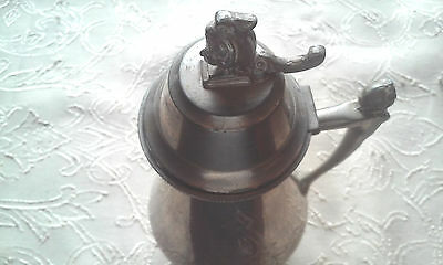 Antique Silver Plate Syrup Pitcher Oct 24 1865 Lady Finial On Handle & Lid