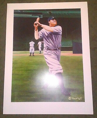 Rare Babe Ruth Limited Edition Signed Numbered Fine Art Print Ny Yankees