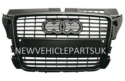 Audi A3 2008-2012 Front Main Centre Grille Black With Sensor Holes High Quality