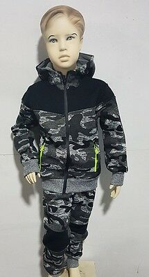 Boys Kids fleece camo zip tracksuit Sports Jogging Bottom Hoodie age 4-14 years