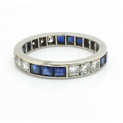 Art Deco 18ct, 18k, 750 Gold Sapphire & Diamond 2.15ct full Eternity Ring, C1920