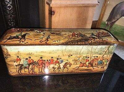 Antique Scribbans-Kemp Tin (Tally Ho) Horses & Hounds From Henry Alken Paintings