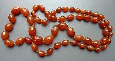 Vintage Antique Chinese Asian Knotted Red Jade Quartz Graduated Bead Necklace
