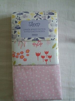 Brand New 2 Pack Jersey Cotton Fitted Moses Sheets