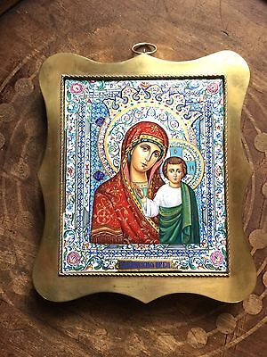 Russia Icon Kazan Mother of God Silver 84 Moscow Enamel finift gift from Majesty