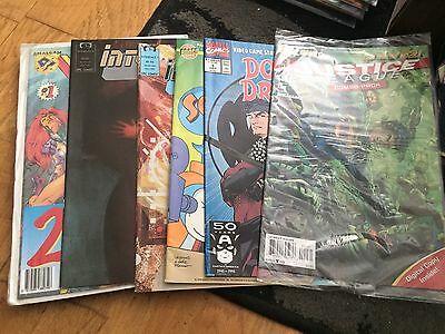 Comic Lot 3 Double Dragon,interface, Justice League, Itchy And Scratchy