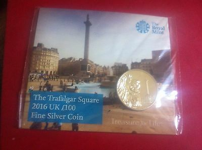 The Royal Mint Trafalgar Square 2016 UK £100 Fine Silver Coin Only 45,000 minted