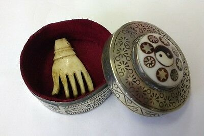 Unusual Carved Human Hand in Metal Case - Gothic Steampunk Macabre Momento Mori
