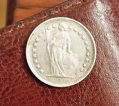 Swiss Siver 1950 1/2 Franc~ Standing Helvetia~ collectable coin~Nice example