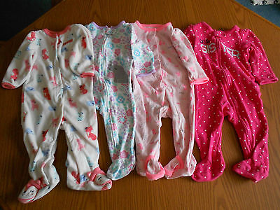 Lot of 4 Child of Mine by Carter's Footed Sleeper / Play Suits Baby Girls 6-9 M