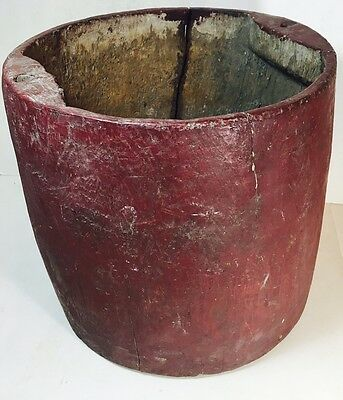 Antique 18th Century DUTCH COLONIAL Hand Carved Wood BUCKET Primitive RED Paint
