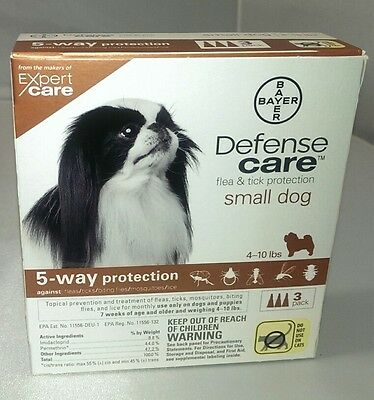 Bayer Defense Care Flea & Tick Treatment for Small Dogs 4-10 lbs, 3 Doses