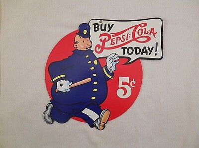 Pepsi Cola Double Dot Cardboard 2 Sided 5 Cent Sign Pepsi Pete Keystone Cop