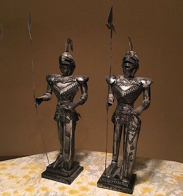 """Lot Pair Vtg Tin Metal SUIT OF ARMOR Medieval Statue KNIGHT 18"""" Stamped Mexico"""