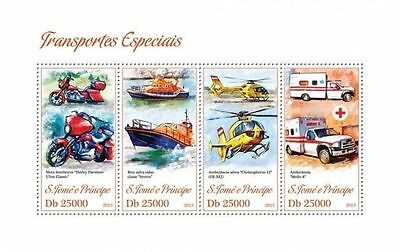 SAO TOME 2013 MOTORCYCLE HELICOPTER AMBULANCE RED CROSS MEDICINE SHIP SS  NEW s