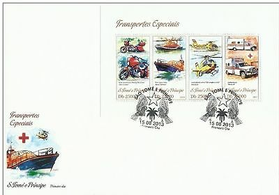 SAO TOME 2013 MOTORCYCLE HELICOPTER AMBULANCE RED CROSS MEDICINE SHIP S/S FDC s