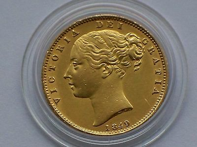 High Grade Victoria 1849 Full Gold Sovereign Shield Back .EF.Condition gold Coin