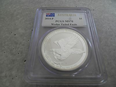 2014 PCGS MS70 1oz Australia Wedge Tailed Eagle Fine Silver Coin
