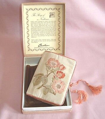 Lovely Boxed Cashs Pure Woven Silk Needlecase Needle Case Sewing Set Heirloom