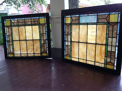 Match Pair Antique Stained Glass Windows Arts and Crafts Period New Orleans