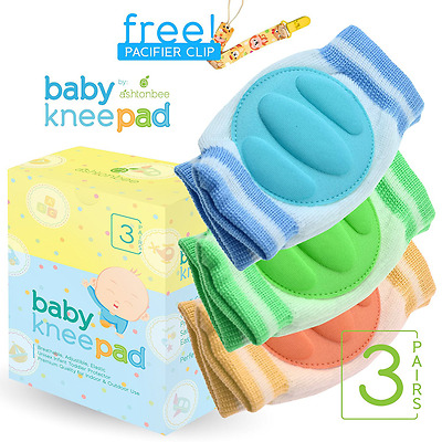 Baby Knee Pads for Crawling (3 Pairs) - Adjustable Breathable Waterproof Safety