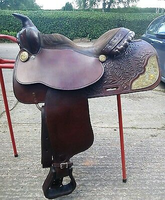 "Genuine Western Pleasure Saddle - Tex Tan 16"" Quarter Horse Tree Tooled"