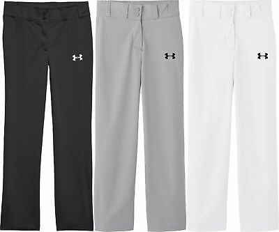Under Armour Clean Up Open Bottom Baseball Pants Youth 1281188 White Black Grey