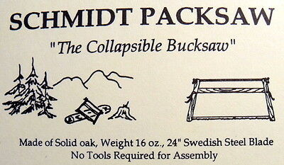 Schmidt Packsaw (the original) folding buck saw 1 lb. solid red oak camp saw