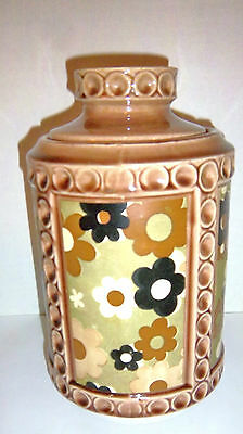 McCOY POTTERY MODERN CYLINDER COOKIE JAR - TAN TONES