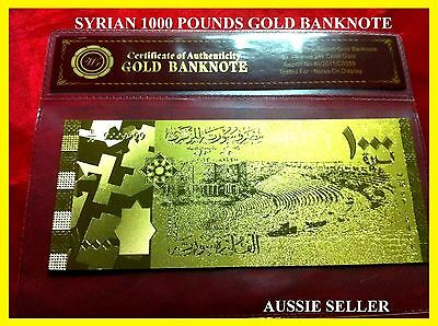 Syria Gold 1000 Pounds Banknote Unc Very Rare 24Kt 3D Note + Coa